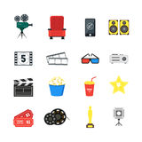 Cartoon Cinema Color Icons Set. Vector Royalty Free Stock Photos