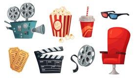 Cartoon cinema elements. Movie theater popcorn, filming cinema clapperboard and retro film camera vector illustration