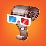 Cartoon cinema. Cartoon film in 3d glasses Stock Photo