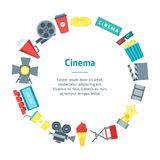Cartoon Cinema Movie Banner Card Circle. Vector. Cartoon Cinema Movie Banner Card Circle Symbol Film and Cinematography Flat Style Design. Vector illustration Royalty Free Stock Photos
