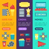 Cartoon Cinema Movie Banner Vecrtical Set. Vector. Cartoon Cinema Movie Banner Vecrtical Set Symbol Film and Cinematography Flat Style Design. Vector Stock Images