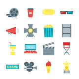 Cartoon Cinema Movie Color Icons Set. Vector. Cartoon Cinema Movie Color Icons Set Symbol Film and Cinematography Flat Style Design. Vector illustration Stock Images