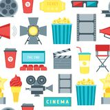 Cartoon Cinema Movie Seamless Pattern Background. Vector Stock Images