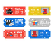 Cartoon Cinema Tickets Small Set. Vector. Cartoon Cinema Tickets Small Set Flat Design Style Leisure Industry. Vector illustration Stock Images