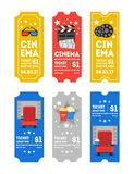 Cartoon Cinema Tickets Small Vertical Set. Vector Stock Photos