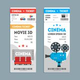 Cartoon Cinema Tickets Vertical Set. Vector Royalty Free Stock Photos
