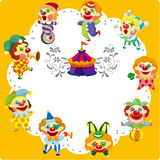 Cartoon circus clown card Stock Photo