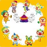 Cartoon circus clown card. Drawing Stock Illustration