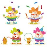 Cartoon circus clowns set Royalty Free Stock Images