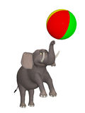 Cartoon circus elephant playing with a ball Stock Photography