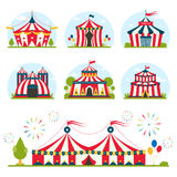 Cartoon circus tent with stripes and flags isolated.  Ideal for carnival signs Royalty Free Stock Photography