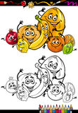 Cartoon citrus fruits for coloring book Stock Photos