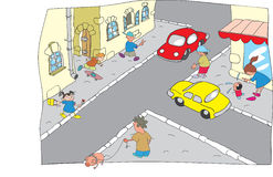 Cartoon city. With pedestrians and cars Stock Photo