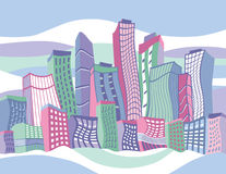 Cartoon City. Illustration of a colorful cartoon city.  Buildings are grouped for easy editing. Background is on separate layer Stock Photos
