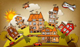 Cartoon city (autumn) Royalty Free Stock Images