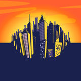 Cartoon city background. Vector illustration of cityscape.  Stock Images