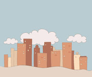 Cartoon city with clouds drawing Royalty Free Stock Photo