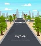 Cartoon City Crossroad Traffic Lights Card Poster. Vector. Cartoon City Crossroad Traffic Lights Card Poster for Ad Transportation Concept Element Flat Design stock illustration