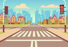 Cartoon city crossroads with traffic lights, sidewalk, crosswalk and urban landscape. Empty roads for car traffic vector. Illustration. Urban road city with vector illustration