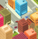 Cartoon City - Downtown. Illustration of a cartoon city scene, with aerial view of downtown traffic vector illustration