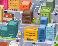 Cartoon City - Downtown Scene. Illustration of a cartoon city scene, with aerial view of downtown traffic