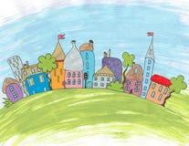 Cartoon city drawn by hand. Stock Image