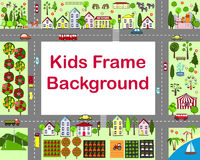 Cartoon city frame with houses, garden, fields, sea, attraction, and roads. City map. Royalty Free Stock Photos