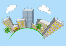 Cartoon city on global. City building planet. Vector illustration Royalty Free Stock Image