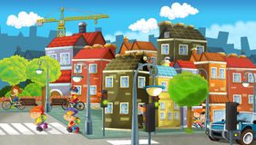 Cartoon city - illustration for the children Royalty Free Stock Photography
