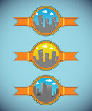 Cartoon city labels - day version Stock Images