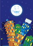 Cartoon city at night Stock Images