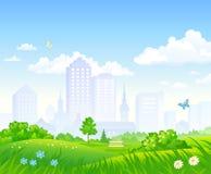Cartoon city park royalty free illustration
