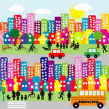 Cartoon city with people pictograms Royalty Free Stock Photo