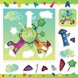 Cartoon city - puzzle Stock Photo