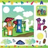 Cartoon city - puzzle Royalty Free Stock Photography