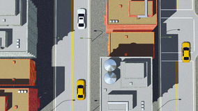 Cartoon city road with cars aerial view. Straight overhead aerial view of abstract cartoon city street with high rise buildings and cars on road. 3D illustration royalty free illustration