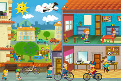 Cartoon city scene - cut through image of a house and playground Stock Photo