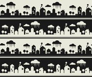 Cartoon city seamless pattern. Royalty Free Stock Images
