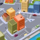 Cartoon City Traffic. Illustration of a cartoon city, with buildings, cars traffic vector illustration