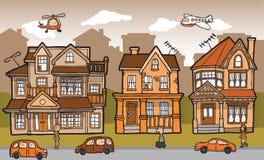 Cartoon city. Vector illustration of hand drawn cartoon city Stock Photos