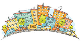 Cartoon cityscape. With cars and houses vector illustration