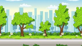 Cartoon cityscape with street and trees