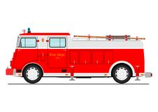 Fire truck. Cartoon classic fire truck. Side view. Flat vector Royalty Free Stock Photo