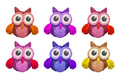 Cartoon clay owls. A set of colorful cartoon clay owls Stock Image