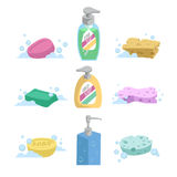 Cartoon clean bath set. Shampoo and liquid soap with dispenser, soap and colorful spoonges. Trendy stylized vector icon collection Royalty Free Stock Images