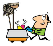 Cartoon cleaner. Cartoon illustration of a cleaner pushing a trolley with cleaning equipment Stock Photos