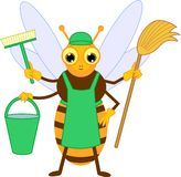 Cartoon cleaner bee. Isolated on white background vector illustration