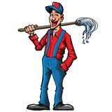 Cartoon cleaner with a broom Royalty Free Stock Images