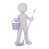 Cartoon Cleaner Holding Purple Mop and Bucket Stock Images