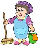 Cartoon cleaning lady Royalty Free Stock Image